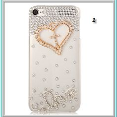 Ipod touch 5 - jeweled cross with heart & rhinestone border on clear case in 2 designs