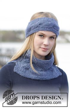 "DROPS Extra 0-1172 - Set consists of: Knitted DROPS head band and neck warmer with cables in ""Brushed Alpaca Silk"" and ""Alpaca"". - Free pattern by DROPS Design"