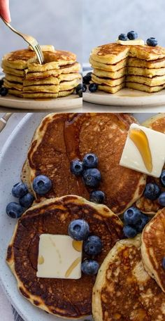 The Best Fluffy Buttermilk Pancakes – make the pancakes of your dreams with this easy recipe! How to make buttermilk pancakes from scratch, plus how to freeze and reheat leftover pancakes! Quick And Easy Breakfast, Savory Breakfast, Sweet Breakfast, Breakfast Dishes, Breakfast Recipes, Brunch Recipes, Pancake Recipes, Breakfast Time, Breakfast Ideas