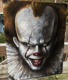 The Endlessness oil on canvas by on DeviantArt Pennywise oil on canvas by Spray Paint Canvas, Fall Canvas Painting, Canvas Art, Halloween Canvas, Halloween Painting, Halloween Art, Creepy Paintings, Creepy Drawings, Awesome Paintings