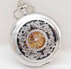 Antique Pocket Watch Silver Flower