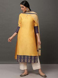 Yellow Art, White Art, Off White Pants, Kurta With Pants, Loom, Designer Dresses, Cold Shoulder Dress, Indian, Silk