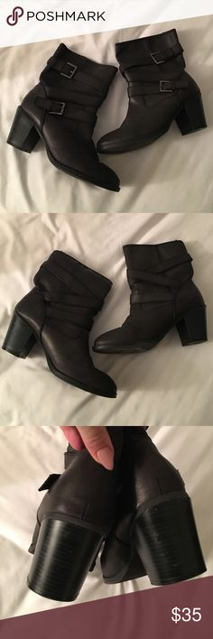 """Boots Sexy, heeled boots with buckle detail, gently worn - never in the rain - stores in a shoe box comes from a pet free & smoke free home! Inside is super soft! These were special edition boots! Excellent quality! The heel is almost 3"""" & the circumference is 6.75"""" Old Navy Shoes Heeled Boots"""