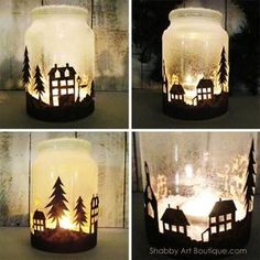 Get the free template and quick and easy tutorial for making the Christmas Township Candle Jar by Shabby Art Boutique. Looks amazing when illuminated at night. Use tealight candles, battery operated candles orbattery operated bud lights. Wine Bottle Crafts, Mason Jar Crafts, Mason Jar Diy, Christmas Mason Jars, Christmas Candles, Christmas Trees, Christmas Town, Merry Christmas, Homemade Christmas