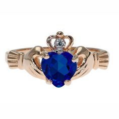 Rose Gold Diamond Blue Sapphire September Birthstone Heart Irish Claddagh Ring Gemologica.com offers a large selection of #Irish #Claddagh #Symbol #Rings in #Silver #10K #14K #18K #yellow #rose #white #black gold with #birthstones #gemstones #wedding #engagement rings for #men #women. Let love and friendship reign with Women's and men's claddagh rings at #Gemologica #jewellery #customer #reviews