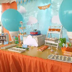 Fun decorations and cake at a Planes birthday party! See more party planning ideas at CatchMyParty.com!