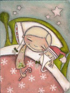 Print of my Original Mixed Media Christmas Painting by DUDADAZE. $10.00, via Etsy.