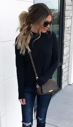 cute casual outfit – distressed jeans, black sweater and louis vuitton crossbody – louis vuitton handbags outfits Classy Fall Outfits, Cute Casual Outfits, Fall Winter Outfits, Autumn Winter Fashion, Black Outfits, Casual Fall, Outfits Jeans, Unique Outfits, Casual Chic