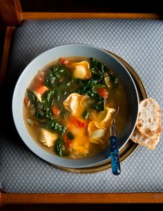 desserts for breakfast - spinach, tomato & tortellini soup.