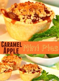 These cute as a button individual Caramel Apple Mini Pies are the perfect size for a scoop of vanilla ice cream or dollop of fresh whipped cream on top. New Recipes, Holiday Recipes, Favorite Recipes, Retro Recipes, Amazing Recipes, Popular Recipes, Easy Recipes, Delicious Desserts, Dessert Recipes