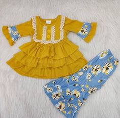 kids clothing fashion ruffle mustard color three ruffles tunic with bell bottoms pants design,for little baby girls ,ready to Bell Bottom Pants, Bell Bottoms, Kids Outfits, Cute Outfits, Baby Outfits, Kids Fashion, Fashion Outfits, Fashion Clothes, Little Baby Girl