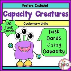 Spice up your capacity unit with these fun and engaging Task Cards. Your students will have fun converting capacity with these monster themed task cards! 120 Task Cards using gallons, quarts, pints, and cups. $