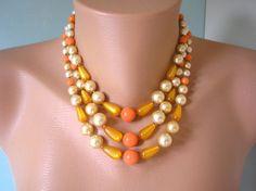 Bridal Backdrop Necklace Orange Choker Fall by CrystalPearlJewelry, $70.00