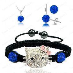 Ensemble Shamballa bracelet boucles d'oreilles et pendentif