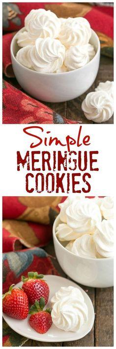 Simple Meringue Cookies - Sweet, ethereal, melt in your mouth cookies #meringues #cookies #eggwhites #howtomakemeringues #perfectmeringuecookies