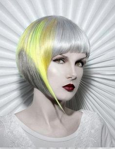 Avant-garde angular bob hairstyle with gray and yellow colouring