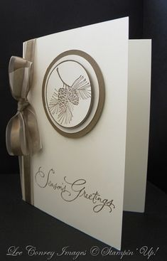 SU colors: whisper white, very vanilla, and soft suede. Can also custom color white ribbon with a sponge dauber to match.