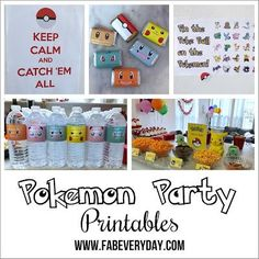 Printables for a Pokémon or Pokémon Go themed birthday party! Links to all of them here on Fab Everyday, plus instructions for planning an amazing Pokémon kid's birthday party!