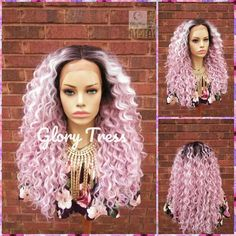 (This Kinky curly lace front wig is simply gorgeous! The white how are only on the ombre pink color). You can also curl this beauty up to This wig is very versatile and can be wore in so many ways. Curly Lace Front Wigs, Straight Lace Front Wigs, Synthetic Lace Front Wigs, Front Lace, Kinky Curly Wigs, Short Hair Wigs, Girl Short Hair, Pink Wig, Ombre Wigs
