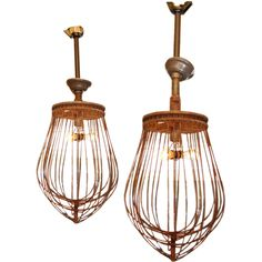 America, 1960's, Rare large scale industrial wire whisks reconditioned and wired into pendant lights.