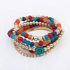 Pretty Multicolor Beads Decorated Rose Shape Multilayer Design Acrylic Korean Fashion Bracelet:Asujewelry.com