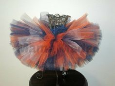 Orange and Navy Blue Tutu with touches of white by mamamadebows, $16.00+