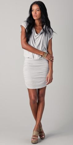 Cowl neck draped dress by Alice + Olivia...love the wedges too