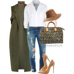 Untitled #3184 by stylebydnicole on Polyvore featuring Frank & Eileen, Boohoo, Louis Vuitton, Maison Michel, Christian Louboutin, women's clothing, women's fashion, women, female and woman