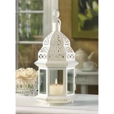 White Moroccan Candle Holder Lantern Iron Glass Panels | eBay