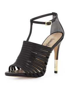 Vera Strappy Leather Sandal, Black by Neiman Marcus at Neiman Marcus Last Call.