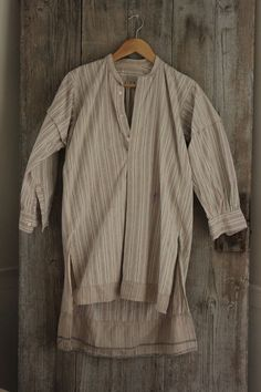 Vintage French night shirt nightshirt men's smock cotton fabric flannel