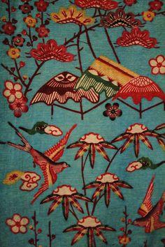 Bingata Fabric | 'Flights of fancy' (19th century) | Okinawa, Japan. Stencil, resist-dyed pattern on a cotton kimono.