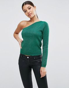 ASOS Sweater with Off Shoulder in Metallic - Green