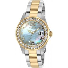 Invicta Sea Base Blue Mother of Pearl Dial Ladies Watch (£61) ❤ liked on Polyvore featuring jewelry, watches, analog wrist watch, blue dial watches, 2 tone watches, two tone watches and blue crown