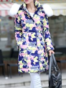 Fashion Hooded Thickening Pockets Bodycon Camouflage Down Jacket