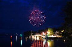 Fireworks over Essex on Lake Champlain..