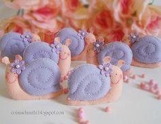 purple felt snails