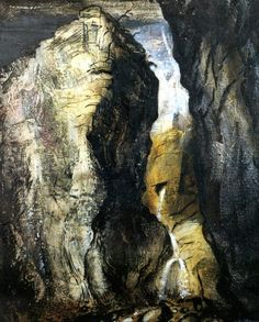 'Gordale Scar, Yorkshire' by British artist John Piper Oil on canvas, 762 x 610 mm. collection: the Tate. via art and artists Abstract Landscape, Landscape Paintings, Abstract Art, John Piper Artist, Royal College Of Art, A Level Art, Wild Nature, Montana, Illustrators
