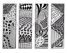 Zendoodle Bookmarks DIY Zentangle Inspired Printable by JoArtyJo