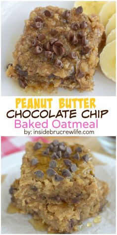 Peanut Butter Chocolate Chip Baked Oatmeal - peanut butter, chocolate chips, and honey make this baked oatmeal a delicious and healthy breakfast choice Peanut Butter Recipes, Chocolate Peanut Butter, Chocolate Chips, Chocolate Oatmeal, Brunch Recipes, Dessert Recipes, Reese's Recipes, Recipies, Delicious Desserts