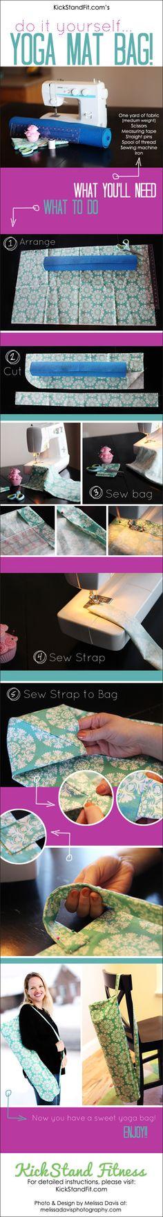 How to Make a Yoga Mat Bag. Simple photo tutorial. #yoga