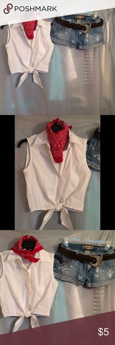 Bundle Scarf, Top-S,  shorts-1,  and belt Maroon-ish red bandanna- $5.       Sz Small White crop top button down with collar- $25.          NWOT Size 1 Light blue distressed denim shorts- $12,  NWOT dark brown Faux suede belt with diamond-like crystals and western style silver buckle- $19. Other