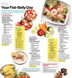 Day 1 of Your Flat-Belly Day.  A 1500 calorie eating plan designed to help you stay trim and satisfied. by Picmeister