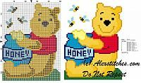 Winnie The Pooh sitting with jar of honey and bees cross stich pattern