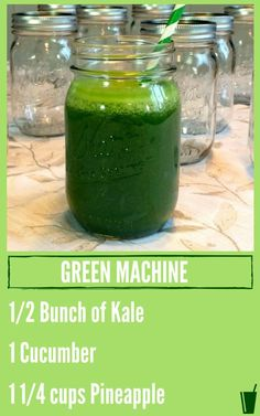 Green Machine Healthy Juice Recipe listed with a mason jar filled with green juice.