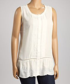 Loving this White Pin Tuck Embroidered Button-Up Tunic - Plus on #zulily! #zulilyfinds