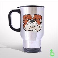Sell Bull Dog Cartoon Face Travel Mug