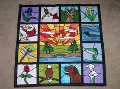 Looking for quilting project inspiration? Check out Chapel Stained Glass Quilt by member susiequilterb. Quilting Projects, Craft Projects, Projects To Try, Stained Glass Quilt, Baby Quilts, Textile Art, Quilt Blocks, Patches, Textiles