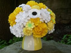 Centerpiece/Wedding Bouquet  All about yellow- handmade paper flowers - by DragonflyExpression