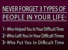 Never forget 3 types of people in your life